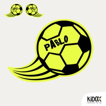 Rodillera termoadhesiva con forma de balón de fútbol,