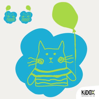 Rodillera termoadhesiva con forma de gato.