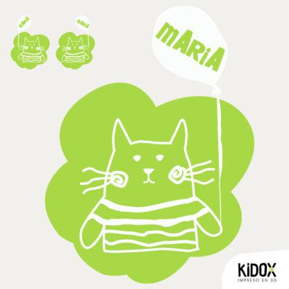 Parche termoadhesivo con forma de gato.