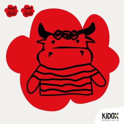 Rodillera termoadhesiva con forma de toro.