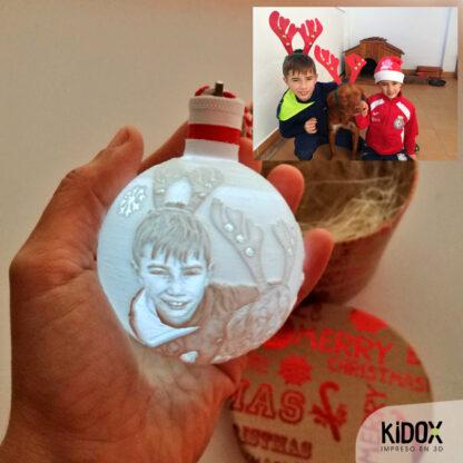Bolas de Navidad con luz personalizadas, impresas en 3D. Kidox, impreso en 3D