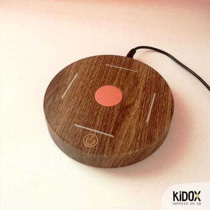 Lámpara levitante litofanía personalizada, impresas en 3D con base de madera. Kidox, impreso en 3D