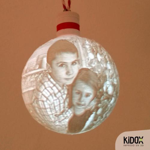 Esferas de Navidad con luz personalizadas, impresas en 3D. Kidox, impreso en 3D
